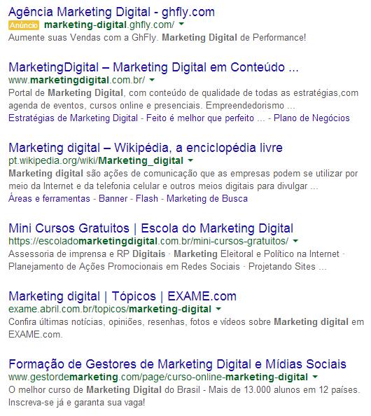 Resultado de uma busca no Google - primeiro da lista pagou para estar ali, o resto usa do SEO para aparecer na melhor colocação possível e ser visto pelo usuário