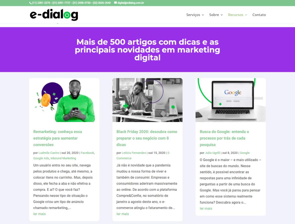 Imagem do blog da E-Dialog, representando uma das ferramentas de marketing de atração