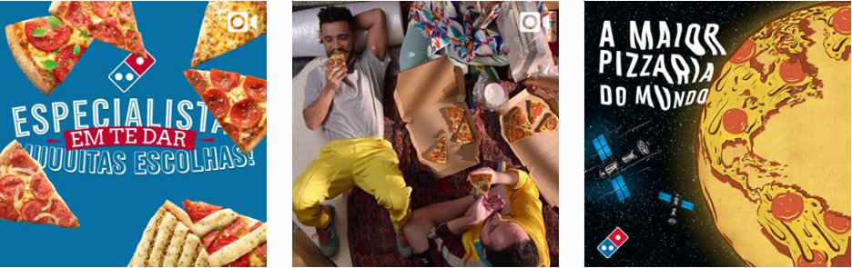 Captura de tela de parte do Instagram da Dominos Pizza. Exemplo de marketing digital para restaurante