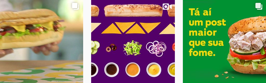 Captura de tela de parte do Instagram da Subway. Exemplo de marketing digital para restaurante