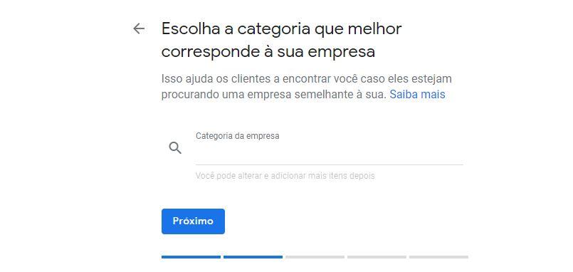 Campo de escolha de categoria da empresa no Google Meu Negócio