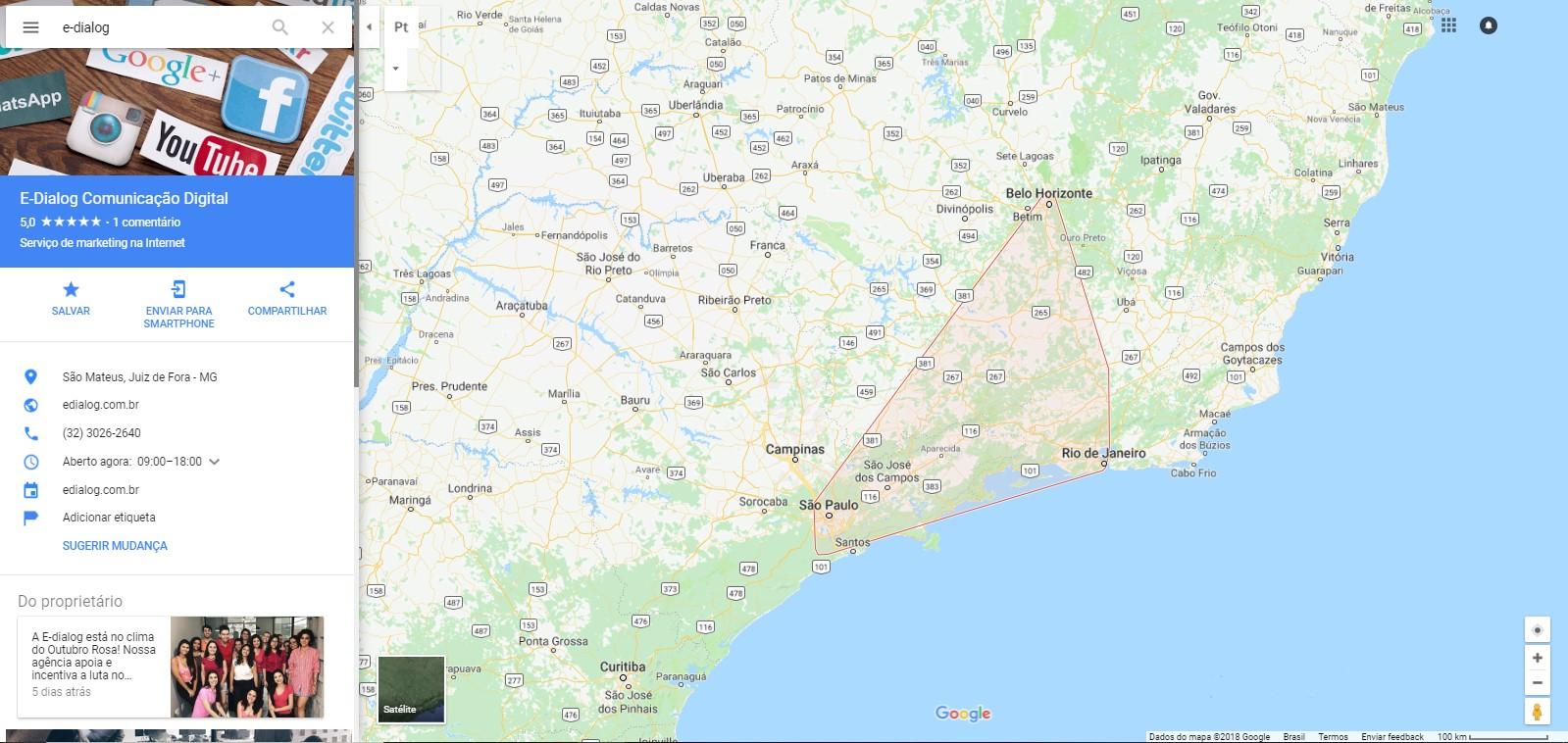 Captura de tela do Google Meu Negócio da E-Dialog no Google Maps