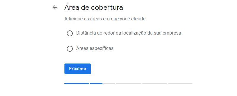 Campo de escolha da área de cobertura da empresa no Google Meu Negócio