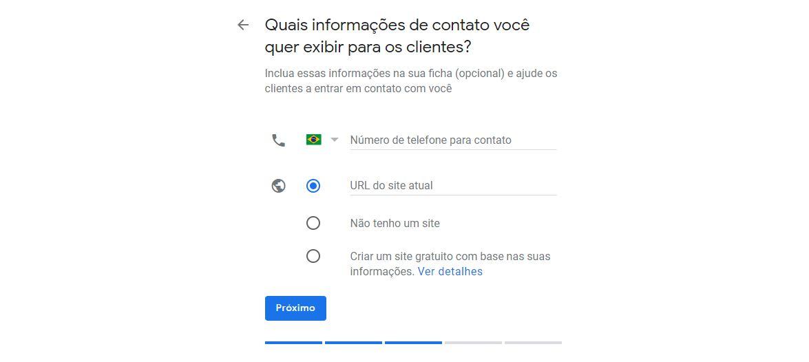 Campo de informações de contato da empresa no Google Meu Negócio