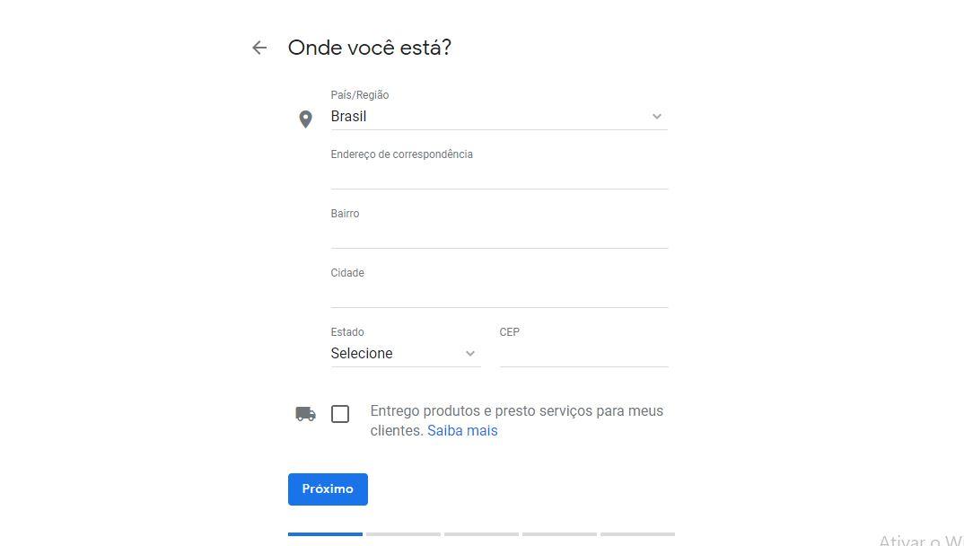 Campo para inserir a localização da empresa no Google Meu Negócio