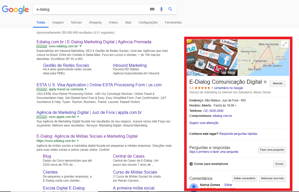 Captura de tela que mostra como aparece, nas pesquisas do Google, o Google Meu Negócio da E-Dialog