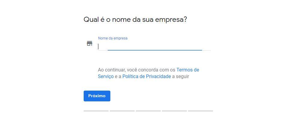 Campo para inserir o nme da empresa no Google Meu Negócio