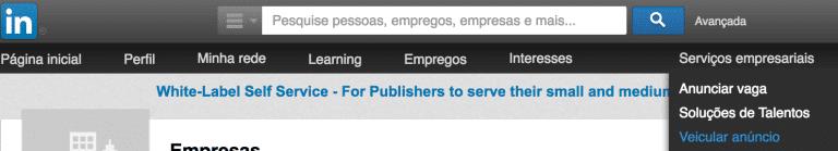 Como anunciar no LinkedIn? Tela para acessar a área de publicidade