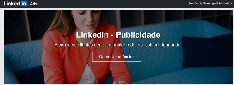 Como anunciar no LinkedIn? Tela da área de publicidade