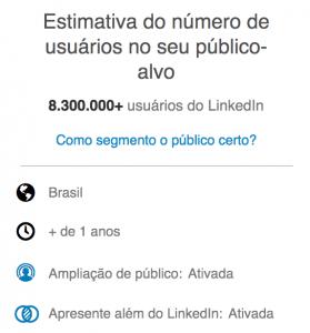 Como anunciar no LinkedIn? Tela com estimativa de público-alvo em um anúncio