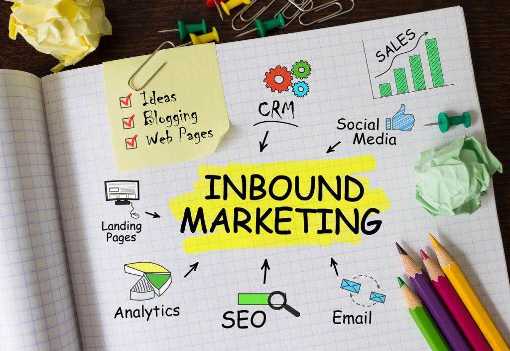 """Caderno com as estratégias de Inbound Marketing escritas representando o artigo """"O que é marketing digital?"""""""