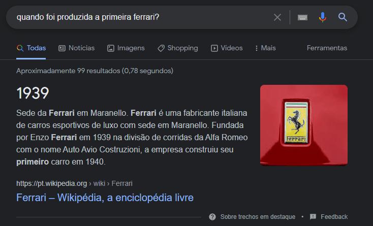 featured snippet wikipedia ferrari